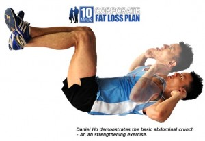 Daniel Ho demonstrates the abdominal crunch